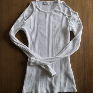 FRAME ribbed long sleeve white cut out shirt small